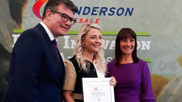 Victoria Cartmill (U.M.I Foods) pictured with Neal Kelly (Fresh Foods Director at Henderson Wholesale) and Jo Scott (BBC NI)